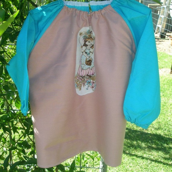 Kids long sleeve art smock, craft apron for girl  age 3 to 4. Sweet Girl.