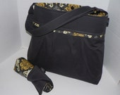 Monterey Bag Ultimate Diaper Bag Set - Large - In Charcoal and Damask In Granite - With Adjustable Strap and Changing Pad