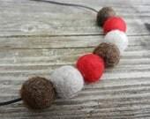 Sock Monkey toy inspired wool felt wet felted ball beaded necklace jewelry