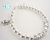 Charm Ladybug Bracelet for Girls with Name-Girl Baptism Gift Christening Bracelet Cross Baby Flower Girl sterling silver custom