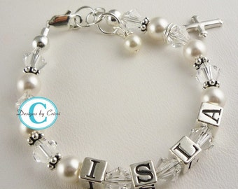 First Communion Bracelet/ Baptism Bracelet for girls with sterling silver cross charm and name