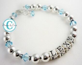 Aquamarine birthstone name bracelet for girls