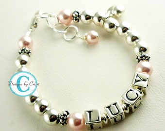 Name Bracelet for Girls with sterling silver heart charm, personalized letters and light pink blush pearls in swarovski or any colors