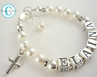 Girl Bracelet Baptism - swarovski pearl name Bracelet - Girl baby- Gift Christening Cross -Flower Girl sterling silver custom charm