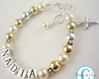 First Communion/14k gold and sterling silver charm/ Christening/ Baptism name bracelet for girls / personalized