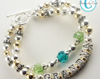 Grandma bracelet with 2 / double strands with her personalization and grandchild and children's swarovski birthstones- silver and 14k gold
