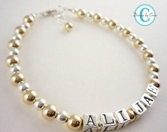 Name Bracelet for Girls - Personalized and custom - flower girl wedding bracelet - baptism
