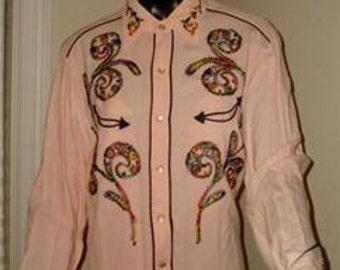 Vintage H BAR C pink embroidered shirt 50's cowboy western rockabilly pearl 16