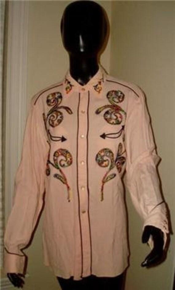 H BAR C cowboy western embroidered shirt 50's rockabilly pearl pink vintage 16