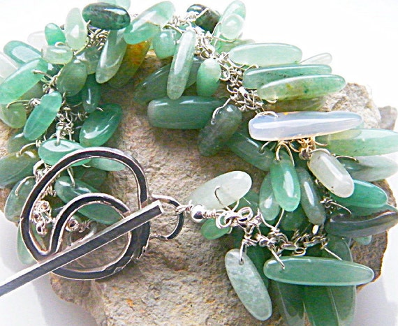 Aventurine Chunky Green  Cluster Bracelet  with 925 St Silver Large Toggle Clasp