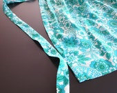 vintage apron with turquoise flowers
