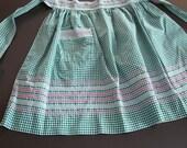 green gingham vintage apron