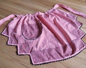 handmade red checked vintage apron