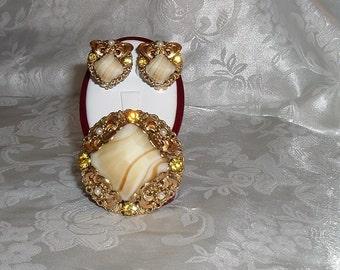 West Germany Fancy Glass Rhinestone Brooch and Earring Set Demi Parure - Free Shipping