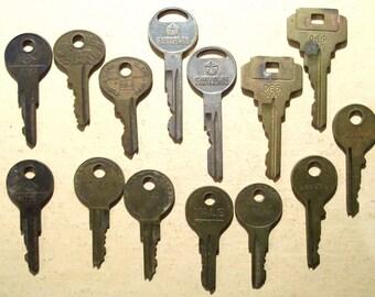 14 Vintage Flat Keys, matched pairs