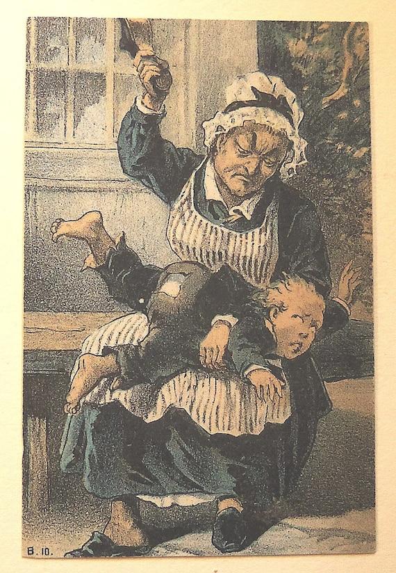 Victorian Trade Card Woman Spanking Child Blue Buff White-8458