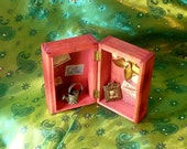 Shadow Box, Vintage Stamps, Box assemblage and FREE One Card Reading by mystic2awesome