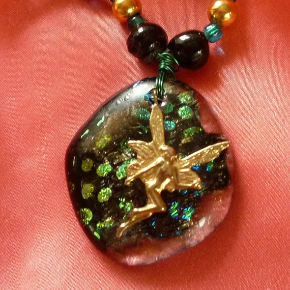 Fused Glass, Dichroic Necklace, Green Pendant, Glass Beaded necklace by mystic2awesome