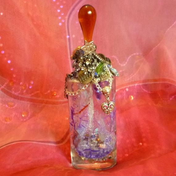 Purple Mystic Bottle, Mystic Vessel, Spirit Jar, Amber Teardrop Spirit Jar by mystic2awesome