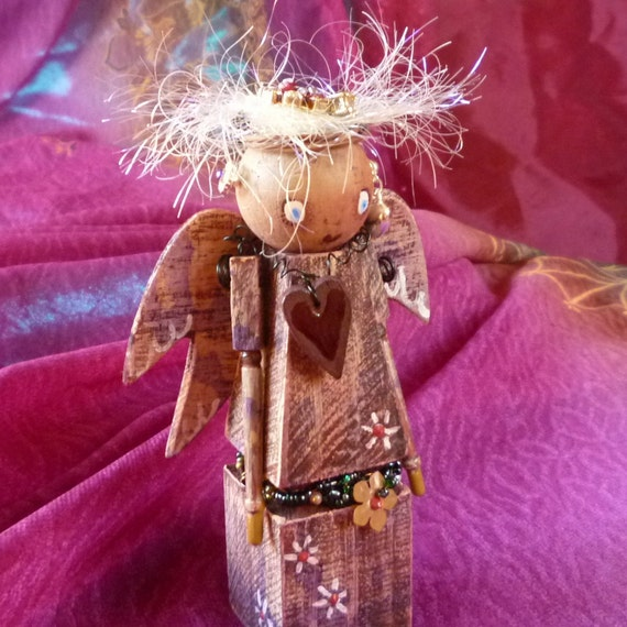 Christmas Decoration, Xmas Shabby Chic Folk Angel by mystic2awesome