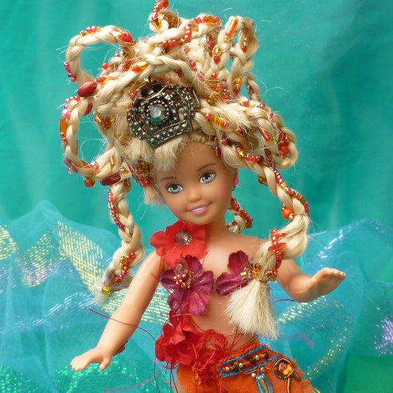 Fantasy Doll Assemblage Art Beaded Tangerine Nymph by mystic2awesome