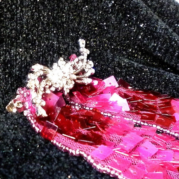 Jewelry Barrette, Hair Barrette, Magenta Barrette, Sequined Hair Barrette by mystic2awesome