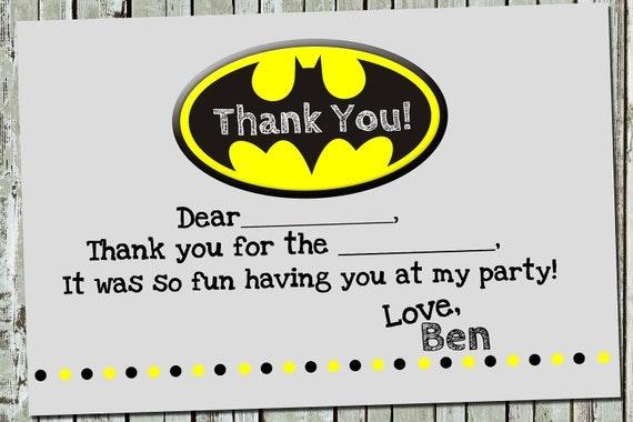 Coordinating Batman Thank You Notes