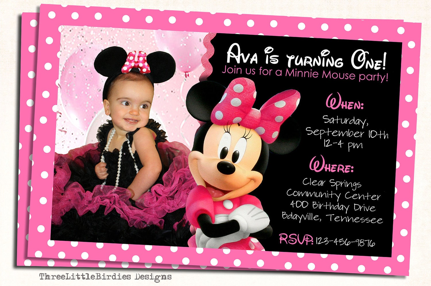 Minnie Mouse Photo Birthday Invitations is an amazing ideas you had to choose for invitation design