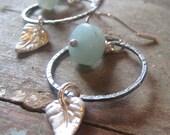 EARRINGS - Little leaf and hoop earrings - sterling, amazonite