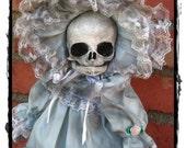 Skull Head doll in blue bonnet ooak creepy gothic skeleton horror art