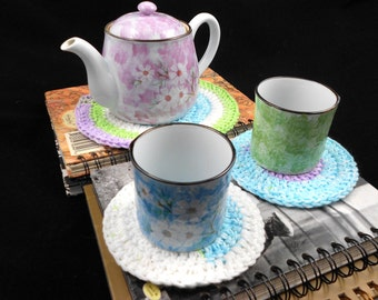 Tea For Two - Trivet and Two Coaster Set in Purple, Green, and White