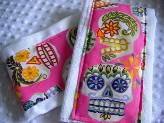 2 Boutique Burp Cloths - Alexander Henry - Calaveras Sugar Skulls in Pink -  Desgner Print