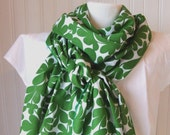 Green Foliage Cotton Scarf.....Extra Long....LAST ONE