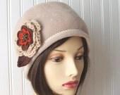 Harvest Wheat Fleece Hat with Autumn Flower Brooch