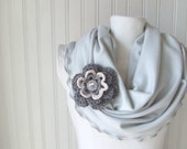 Dove Grey Ruffled Infinity Scarf with Flower Brooch.....New