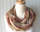 Woodlands Infinity Scarf in Olive, Walnut and Cream  Ruffled