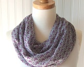 Chiffon Infinity Scarf - Grey and Lilac Butterflies - New
