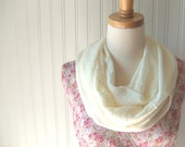 Cream Infinity Scarf - Crinkled Chiffon Ivory Summer Loop, Cowl, Circle Scarf - New