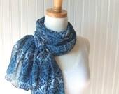 Floral Chiffon Scarf - French Blue Damask - New