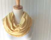 Maize Infinity Scarf - Ruffled Jersey Yellow Cowl, Circle Loop Scarf - Fall and Winter Fashion