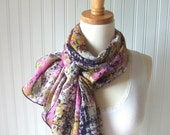 Abstract Chiffon Scarf - Mustard, Navy Blue and Fuchsia Modern Sheer Summer Scarf - New