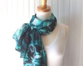 Watercolor Floral Scarf - Teal, Charcoal Grey, Black and Gray Flowers Sheer Summer Scarf