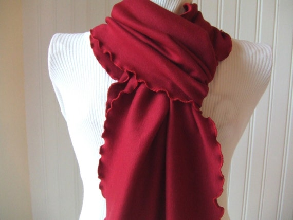 Dark Cranberry.....Ruffled Scarf......New Colors of Autumn