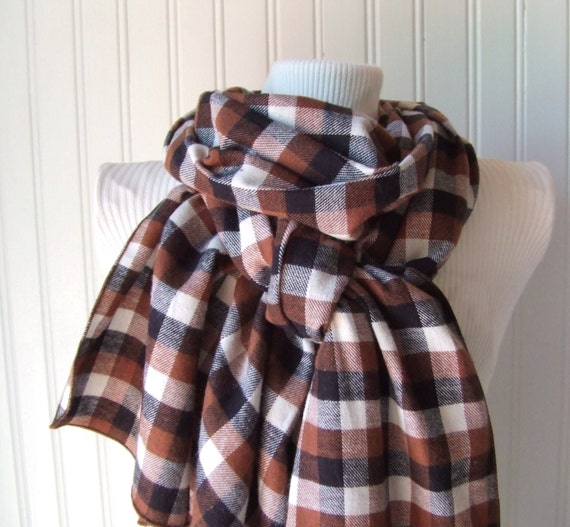 Last One...Plaid Flannel Scarf in Chestnut Brown and Black.....Ultra Soft