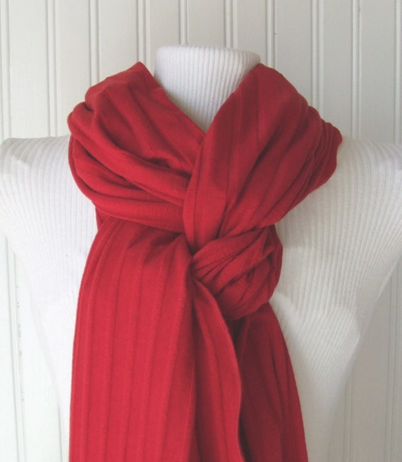 Winter Berry  Red Jersey Scarf.....Ruffled.....Extra Long....Last One