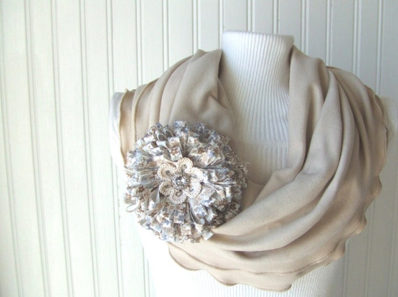 Fawn Beige Ruffled Infinity Scarf with Flower Brooch.....New