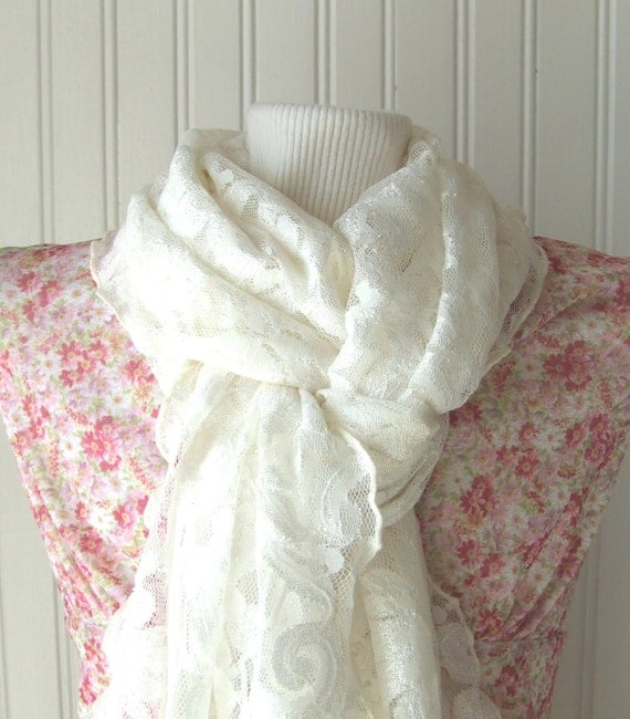 Candlelight Lace Scarf with Ruffles....New