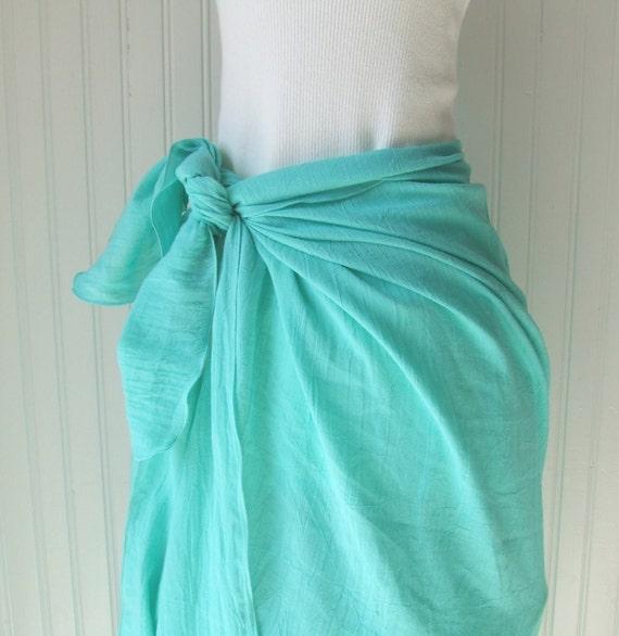 Cotton Gauze Sarong - Sea Breeze Green Summer Swimsuit Beach Cover Up Skirt - New