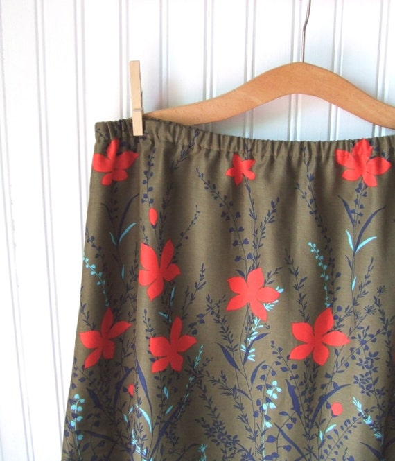Olive and Vermilion Floral A Line Plus Size Skirt