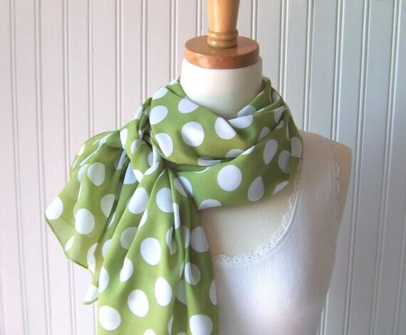 Polka Dot Scarf - Garden Green Polka Dots Summer Chiffon Scarf - Last One